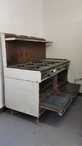 Antique Gas Stove 6 Burners With 2 Ovens