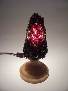 Czech Glass Bulb Cover Flower Shade Tree Lamp Deep Red On Marble Base 8 High