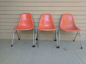 Lot Of Three Vintage Eames Herman Miller Red Shell Chairs H Base Fiberglass Mcm