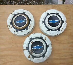 3 Vintage 1969 72 Chevrolet Hubcaps Truck Painted White Black