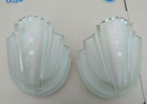 2 Two Vintage Art Deco Slip Shade Frosted Glass Wall Sconce Light Covers