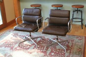 Eames Herman Miller Soft Pad Aluminum Group Chair Brown Leather Mid Century