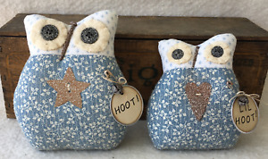 Primitive Ornies Owl Pair Prim Ornies Bowl Fillers Make Do S Tucks Country Blue
