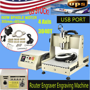 800w Usb Cnc 3040 4 Axis Wood Milling Machine Pcb Engraving Router W Ball Screw