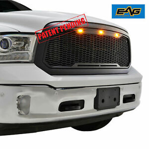 For 13 18 Dodge Ram 1500 Mesh Grille Grill Raptor Style Black Led Replacement