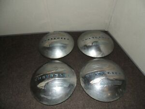 Vintage Chevrolet Dog Dish Moon Hubcaps Set Of 4