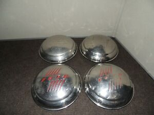 Vintage Ford Dog Dish Moon Hubcaps Set Of 4