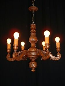 Vintage Large French Carved Wood Chandelier France