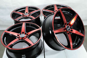 17x7 5 5x114 3 5x100 Red Wheels Fits Nissan Rogue Sentra Altima Civic 5 Lug Rims