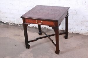Drexel Heritage Carved Mahogany Hollywood Regency Chinoiserie X Base Side Table