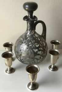 925 Sterling Silver Glass Cup Decanter Cordial Set Vintage Pitcher Reduced