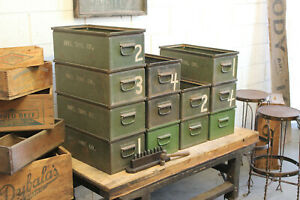 35 Available Vintage Industrial 20 Steel Stacking Parts Bins Factory Lyon Tool