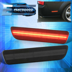 For 05 09 Ford Mustang Rear Smoke Lens Red Led Side Markers Reflector Lights Set