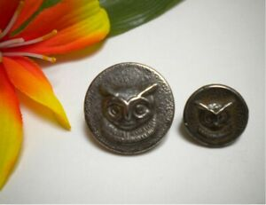 2 Antique French White Metal Owl Hunting Picture Buttons Paris Backs