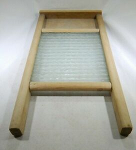 Vintage Primitive Ribbed Glass Wood Framed Washboard By Columbus Washboard Co Tf