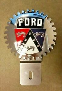 New Vintage Ford Crest License Plate Topper Chromed Brass Great Gift Item Fits 1955 Ford