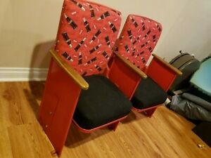 Vintage Theater Seats Seating Movie Seats  Refurbished with Coca Cola fabric