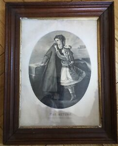 The Return Currrier Ives Antique Litho In Nice Period Victorian Ogee Frame