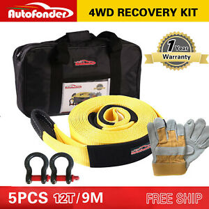 Heavy Duty 12t 9m Recovery Kit 4wd Snatch Strap 2 Bow Shackle leather Gloves