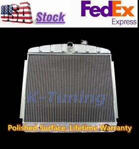 Polished 3 Rows Chevy Small Block 150 210 V8 Aluminum Radiator 55 56 57 Stamped