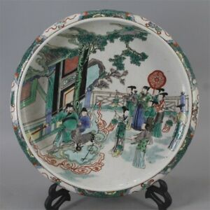 Huge Chinese Antique Wu Cai Color Character Story Porcelain Brush Washer