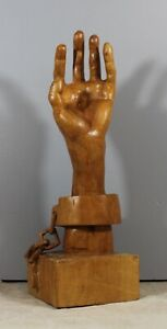 Carved Wooden Hand Wooden Left Hand On Base With Manacle Signed R Guyet