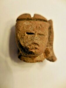 Antique Pre Columbian Carved Stone Head Face Mask 5
