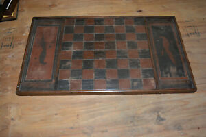 Fabulous 19th Century Primitive Hand Carved Painted Game Board Original Paint