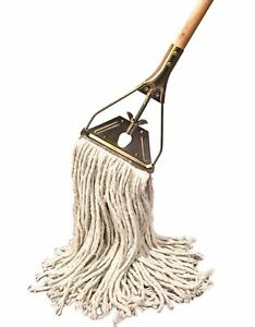 Tidy Tools Cotton String Mop With Wooden Handle And Brass Metal Frame 18 L