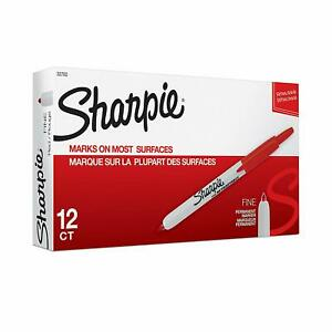 Sharpie 32702 Retractable Permanent Markers Fine Point Red 12 Count