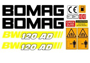 Bomag Bw 120ad 4 Vibrating Roller Decals Stickers