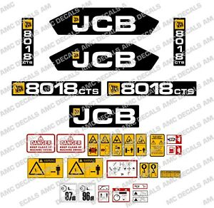 Jcb 8018cts Mini Digger Decal Sticker Set With Safety Warning