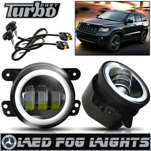 Fit Jeep Grand Cherokee 2011 12 4 Round Led Halo Fog Lights Driving Bumper Lamp