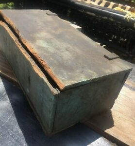 Antique Wood Tool Box Original Blue Paint Leather Strap Hinges Old