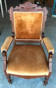Vintage Victorian Gothic Carved Parlor Chair Casters Gold Tufted Furniture