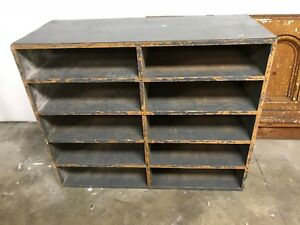 Vintage Large Shelf Sorter Wood 10 Cubby Holes Store Display Cabinet Mapping