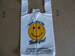 1300 Ct Plastic Shopping Bag Medium Size T Shirt Type Grocery happy Face White
