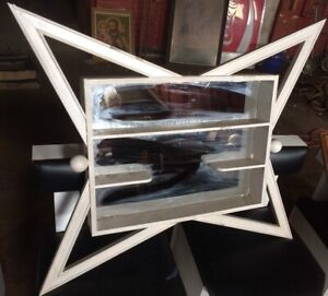 Rare Old Mid Century Modern Shadow Box Mirror Wall Shelf Display 38 X 33 X 4