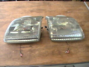 97 03 Ford F150 Expedition Factory Headlights W Led Running Light Strip