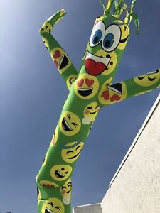Happy Lime Green Emoji 20ft Air Sky Guy Dancer Inflatable 18 blower