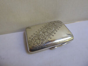 English Sterling Antique Cigarette Case Gold Wash Inter 1900 Peyton Pepper Sons