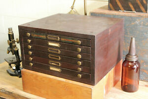 Vintage Industrial Steel Optometrist 6 Drawer Lens Flat File Cabinet Print Art