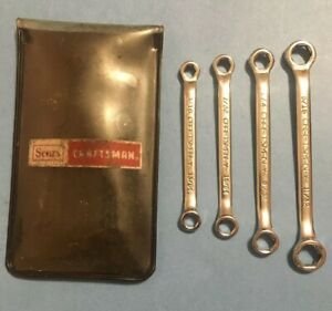 Craftsman Usa 4379 4 Pc Box End Wrench Set Ignition Sae Midget In Vinyl Pouch