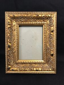 Vintage Gold Gilt Carved Wood Table Picture Frame Easel Back Embossed Rococo