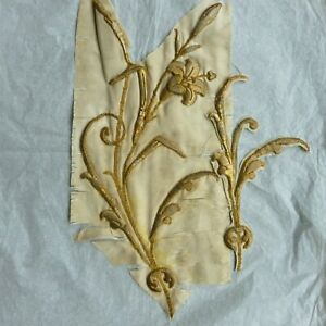 Antique French Gold Work Hand Embroidery