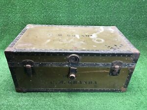 Vintage Green Military Steamer Trunk Flat Top Coffee Table Storage Vulcanized