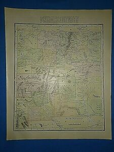 Vintage 1902 New Mexico Territory Map Old Antique Original Atlas Map