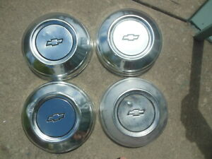4 Chevy Impala Caprice Dog Dish Hubcaps Center Caps 1977 To 1991 Police Vintage