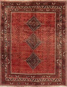Tribal Persian Style Area Rug Handmade Wool Oriental Geometric 7 X 10 Red Carpet
