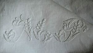 French Pure Linen Fil Pillow Case Sham Hand Embroidered Mt Monogram